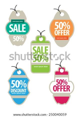 Vintage Web sale tags. vector - stock vector