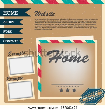Vintage web site design layout template - stock vector