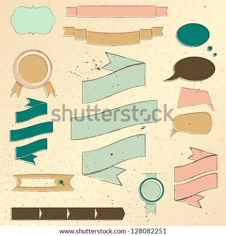 Vintage website design elements set. Vector illustration EPS10 - stock vector