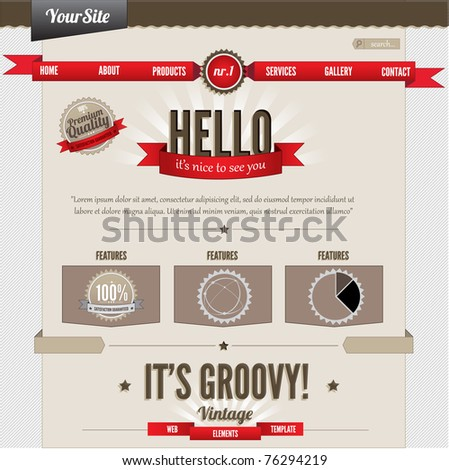 Vintage website elements template - stock vector