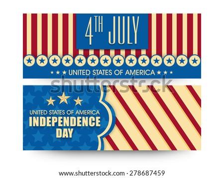 Vintage website header or banner set in national flag colors for 4th July, American Independence Day celebration. - stock vector