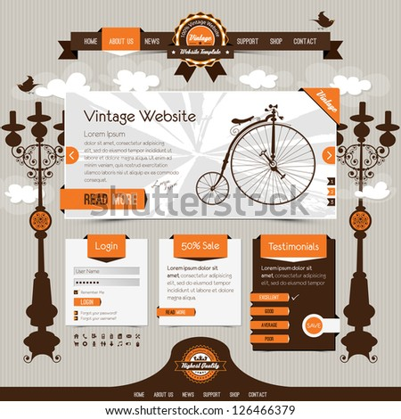 vintage website template with retro, classic elements and textured ribbons, labels - stock vector