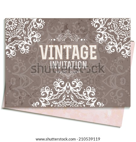 Vintage Wedding card or invitation with abstract lace background and borders. Vector - stock vector