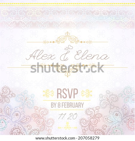 Vintage Wedding card or invitation with abstract lace seamless background and borders. vector - stock vector