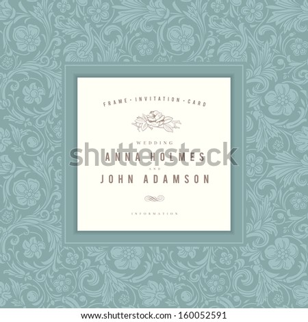 Vintage wedding card vector. Emerald frame with an ornament in baroque style. - stock vector
