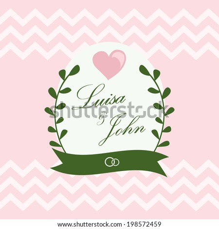 Vintage wedding card with floral elements - stock vector