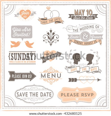 Vintage Wedding Elements - Set of vintage wedding design elements. Each design is grouped and colors are global for easy editing.  - stock vector