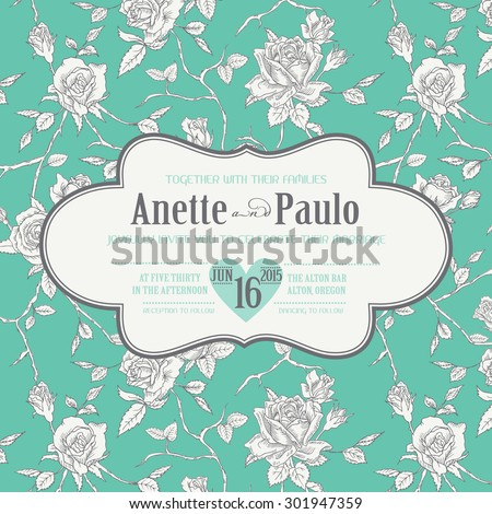 Vintage Wedding Floral Card - Save the Date, Invitation, Baby Shower - in vector - stock vector