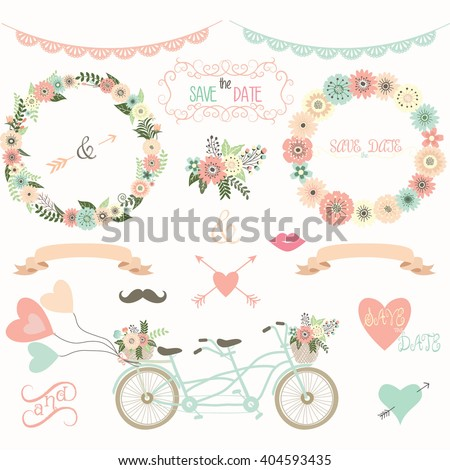 Vintage Wedding Floral Collection.Flora,Wreath,Laurel,Lace,Wedding Bicycle ,Wedding invitation. - stock vector