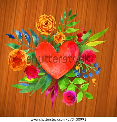 Vintage Wedding Floral design element- Heart illustration. Spring floral heart with colorful flowers for invitation card design.  - stock vector