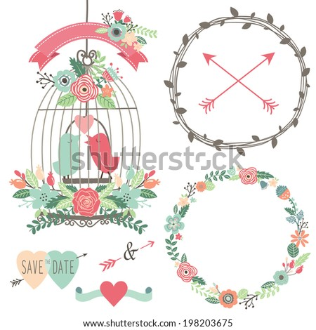 Vintage Wedding Flowers and Birdcage - stock vector