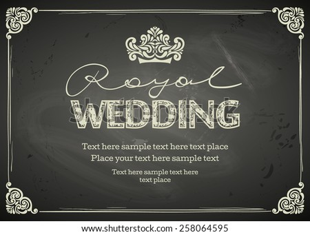 Vintage Wedding frames and border. Easy to use. Chalkboard design - stock vector