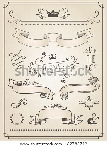 Vintage Wedding graphic set, borders, arrows, hearts, laurel, ribbons and labels. - stock vector