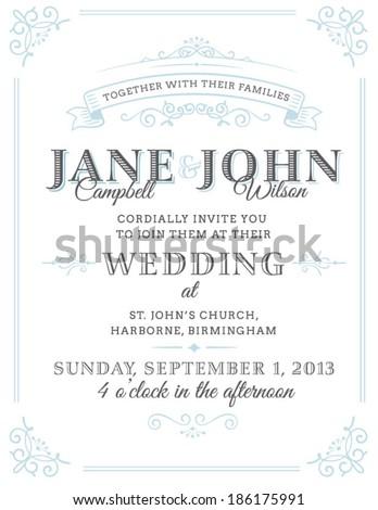 Vintage Wedding Invitation - stock vector