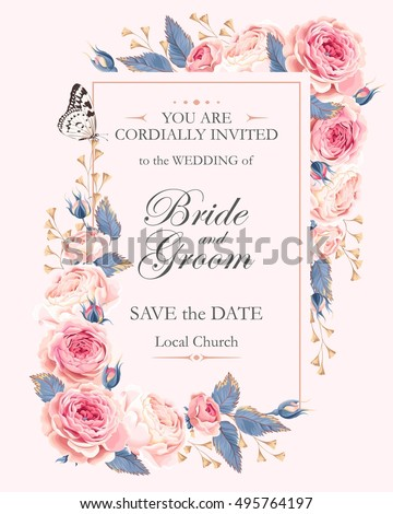 Vetor stock de vintage wedding invitation livre de direitos vintage wedding invitation stopboris Images