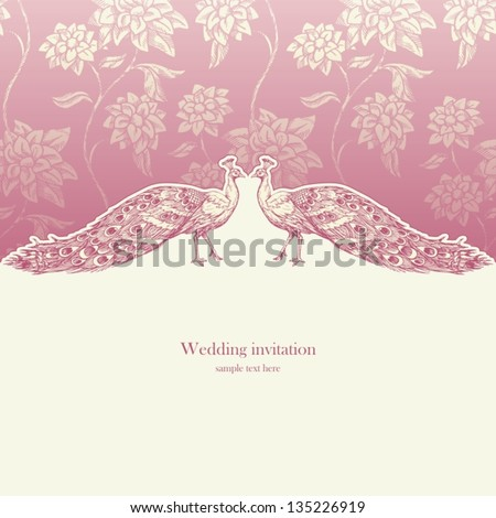 Vintage wedding invitation card, antique background, luxury greeting card, beautiful ornamental page cover with peacocks, floral elegant design - stock vector