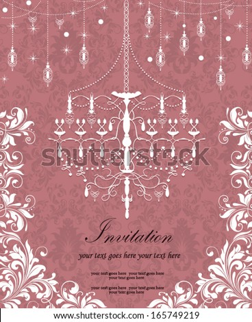 vintage wedding invitation card with chandelier - stock vector