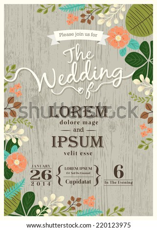 Vintage wedding invitation card with cute flourish background - stock vector
