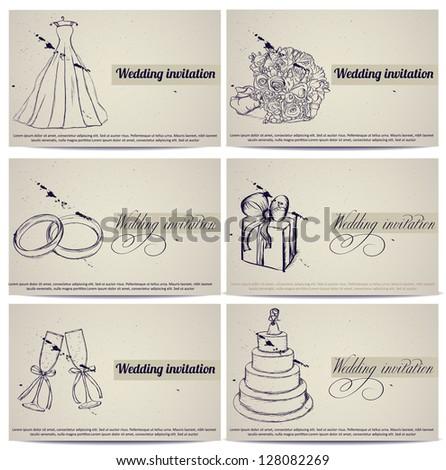 Vintage wedding invitation cards set. Vector illustration eps8 - stock vector