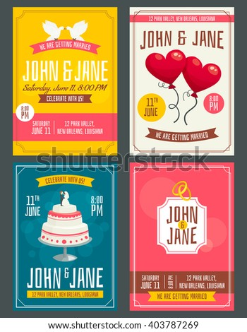 Vintage wedding invitation cards set with doves balloons cake and rings, decoration posters, cartoon vector illustration - stock vector