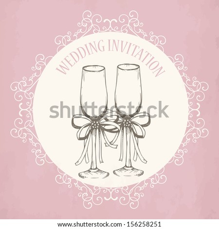 Vintage wedding invitation design with hand drawn champagne glass on aged background. - stock vector