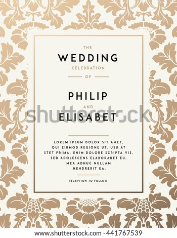 Vintage Wedding Invitation Template Modern Design Stock Vector