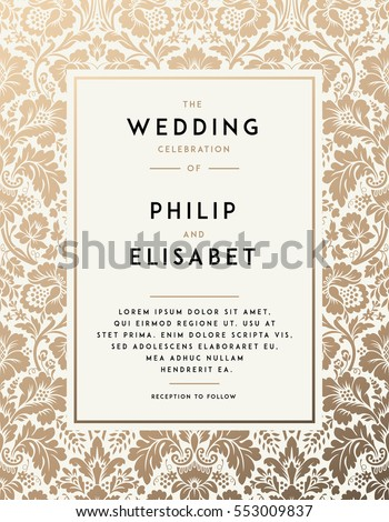 Vintage wedding invitation template modern design stock vector hd vintage wedding invitation template modern design wedding invitation design with damask background tradition stopboris Gallery