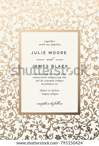 Vintage wedding invitation template golden floral stock vector vintage wedding invitation template with golden floral background vector illustration stopboris Images