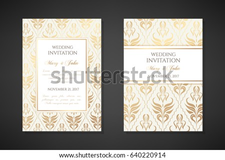 vintage wedding invitation templates cover design with gold iris flowers ornaments vector traditional decorative - Vintage Wedding Invitation Templates