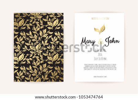 Vintage Wedding Invitation Templates Cover Design Stock Vector