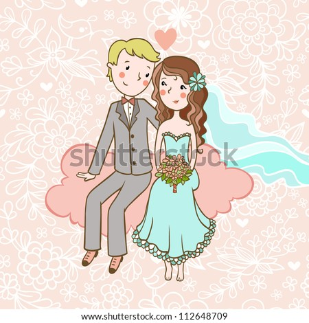 Vintage wedding invitation with a boy and girl sitting on clouds. - stock vector