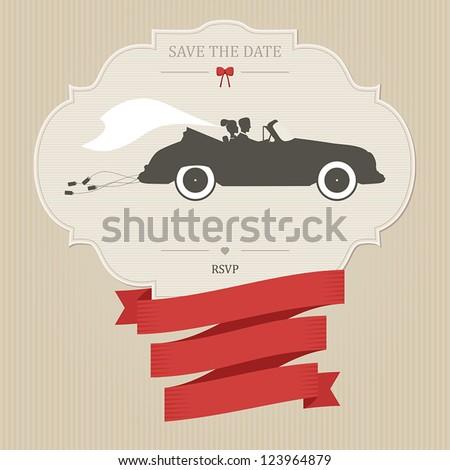 Vintage wedding invitation with bride and groom riding retro car - stock vector