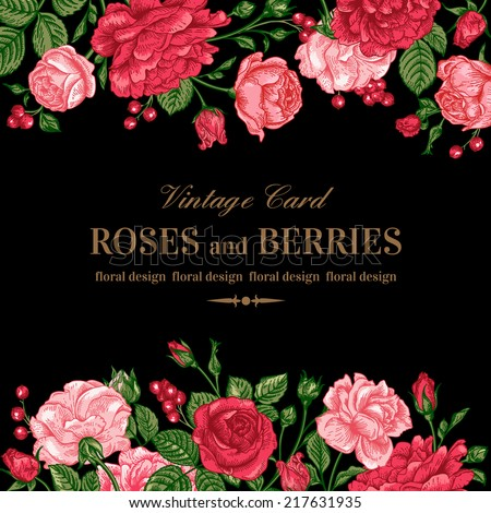 Vintage wedding invitation with pink and red roses on a black background. Vector illustration. - stock vector