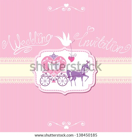 Vintage wedding invitation with retro horse carriage - stock vector