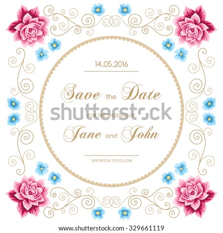 Vintage wedding invitation with roses and calligraphy design elements. Save the date design. Vector illustration - stock vector