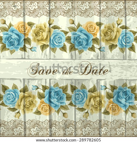 Vintage wedding invitation with roses and wood. Vector illustration. Save the date design - stock vector