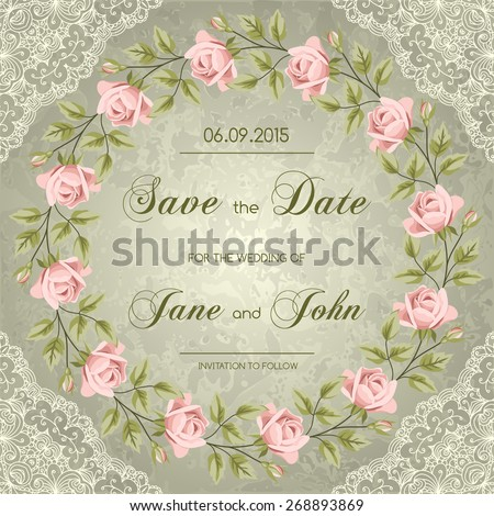 Vintage wedding invitation with roses. Save the date design. Hand drawn vector illustration - stock vector