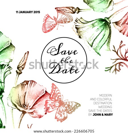 Vintage wedding invitation with watercolor flowers. Save the date design. Hand drawn sketch vector illustration  - stock vector