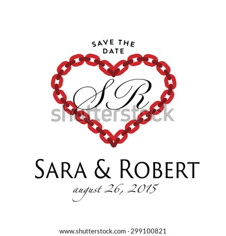 Vintage Wedding Monogram design. Heart made from chain. Retro vector illustration for Save the Date RSVP request for response Invitation. Romantic Graphics. - stock vector
