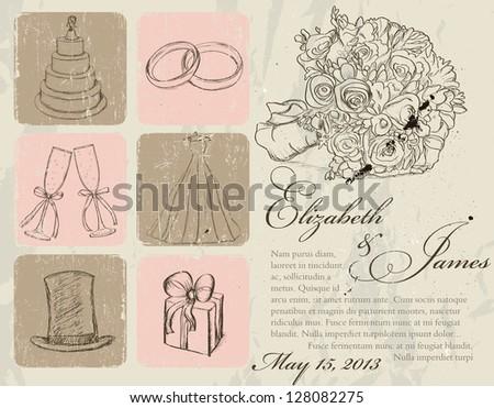 Vintage wedding poster. Vector illustration EPS8 - stock vector