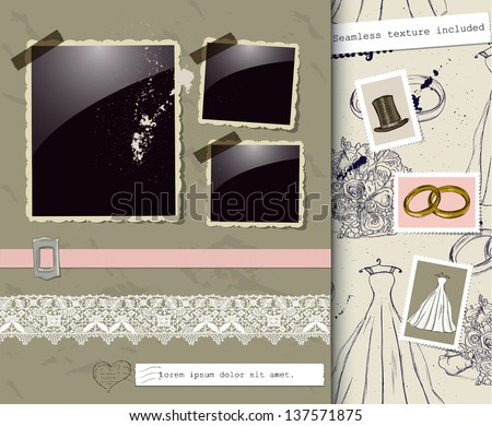 Vintage wedding poster. Vector illustration EPS10 - stock vector