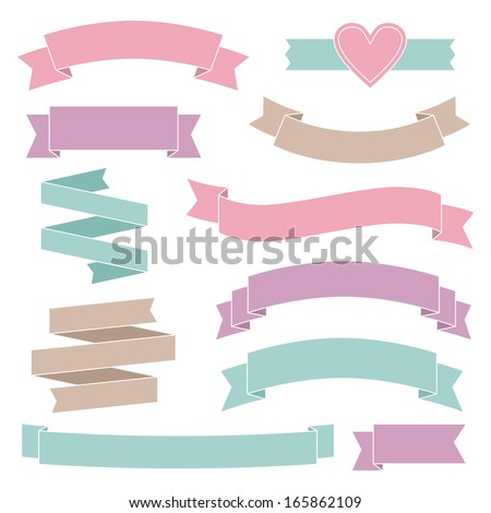 Vintage wedding ribbons collection - stock vector