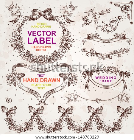 Vintage wedding/romantic vector set: hand drawn design elements and frames - stock vector
