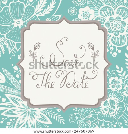 Vintage wedding save the date card. Vector illustration - stock vector
