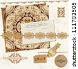 Vintage Wedding Scrapbook Set - Persian Tiles and Birds in vector - stock vector