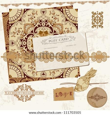 Vintage Wedding Scrapbook Set - Persian Tiles and Birds in vector - stock vector