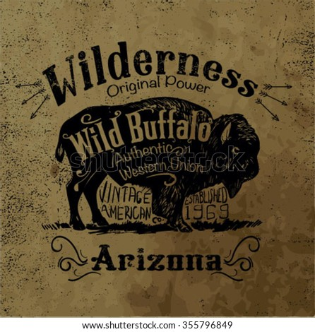 vintage western label design with background grunge effect