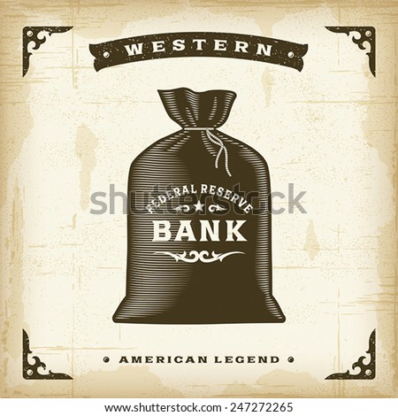 Vintage Western Money Bag. Editable EPS10 vector illustration. - stock vector
