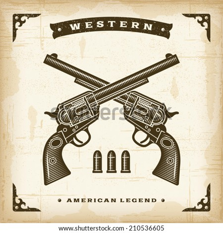 Vintage Western Revolvers. Editable EPS10 vector illustration. - stock vector