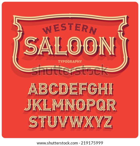 Vintage western style volume font with emblem frame. Warm background. - stock vector